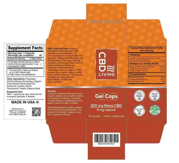 CBD Living Gel Capsules 150 Mg Back