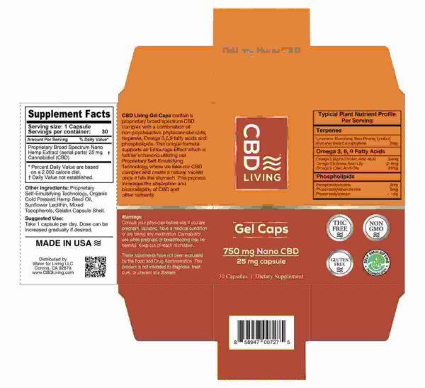 CBD Living Gel Capsules 750 Mg Back
