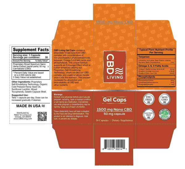 CBD Living Gel Capsules 1500 Mg Back