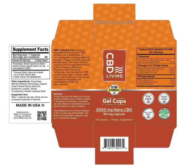 CBD Living Gel Capsules 3000 Mg Back