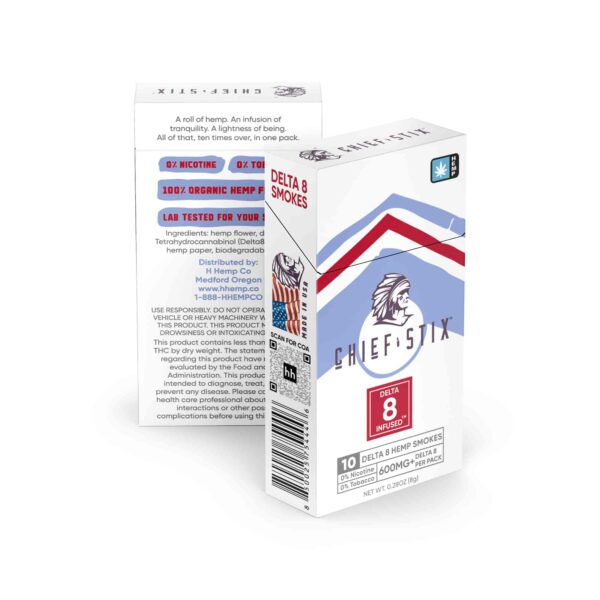 CHIEF STIX DELTA8 INFUSED™ HEMP SMOKES - 600mg 10ct PACK side view