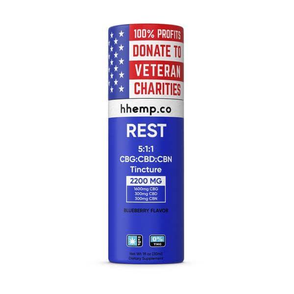 HH CBG+CBD Tincture - Rest (Blueberry Flavor) - 2200 mg_box
