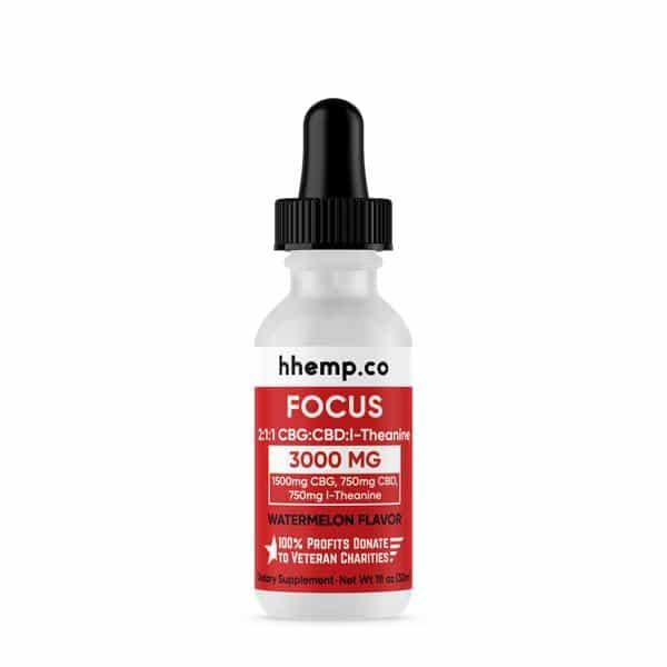 HH CBG+CBD Tincture - Focus (Watermelon Flavor) - 3000 mg_bottle